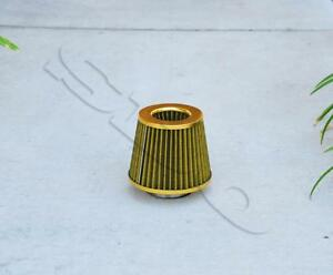 3 76mm Inlet Gold High Flow Mesh Air Intake Cone Filter W 2 5 Adapter