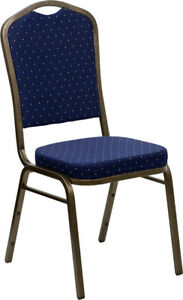 10 Pack Banquet Chair Navy Blue Dot Fabric Restaurant Chair Crown Back Stacking