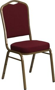 10 Pack Banquet Chair Burgundy Fabric Restaurant Chair Crown Back Stacking