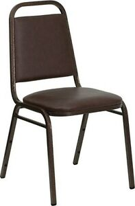 10 Pack Banquet Chair Brown Vinyl Restaurant Chair Trapezoidal Back Stacking