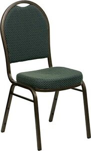Banquet Chair Green Patterned Fabric Restaurant Chair Dome Back Stacking Chair