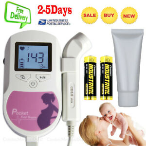 Usa Seller baby Sound Fetal Doppler Pocket Prenatal Heart Rate Monitor 3mhz Lcd