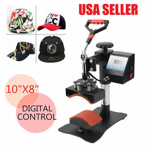 Digital Transfer Sublimation Hat Cap Clamshell Heat Press Machine 10x8 Curved G