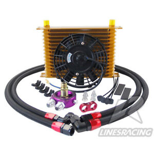 Lr 15 Row Aluminum 10an Turbo Engine Transmission Oil Cooler 7 Electric Fan Kit