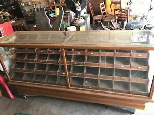 8 Oak Wood And Glass Store Display Case Mercantile Showcase 50 Drawer Cabinet