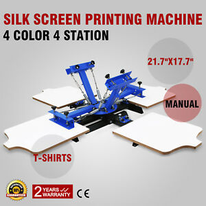 4 Color Screen Printing Press Machine Silk Screening Pressing Diy 4 Station Heat