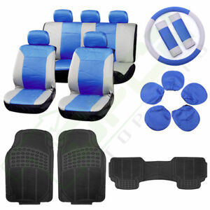 Gray Blue Seat Cover W steering Wheel Cover Full Set 3pcs New Car Floor Mats