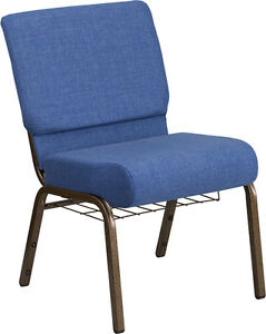21 Extra Wide Blue Fabric Color Church Chair W Gold Vein Frame And Book Rack