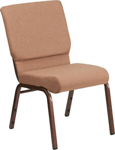 18 5 Wide Caramel Fabric Stacking Church Chair With Copper Vein Frame