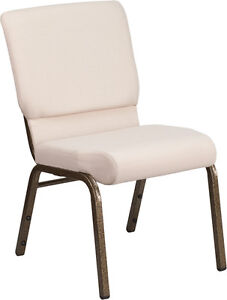 18 5 Wide Beige Patterned Fabric Stacking Church Chair With Gold Vein Frame