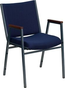 Heavy Duty Navy Fabric Stackable Office Side Chair Guest Chair Church Chair