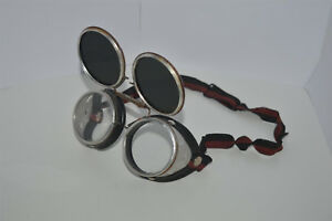 Welding Safety Goggles Steampunk Motorcycle Aviator Flip Up Vtg Glasses Wwii