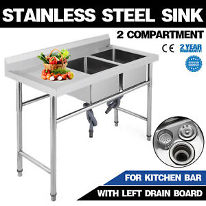 2 Compartment stainless Steel Sink Left Drain Board Utility Farmhouse Service