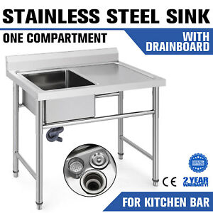 39 5 x24 Stainless Steel Sink Right Drain Board Wash Table Hotel Basin