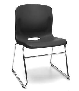 Multi use Sled Base Black Plastic Stack Office Side Chair Waiting Room Chair