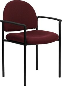 Burgundy Fabric Comfortable Stack Office Side Chair Waiting Room Chair