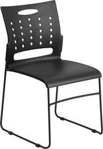 Heavy Duty Sled Base Black Plastic Office Guest Chair Waiting Room Chair