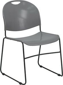Heavy Duty Gray Plastic Stack Office Chair Waiting Room Chair Guest Chair
