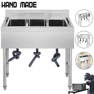 Three 3 Compartment Stainless Steel Sink Commercial Kitchen Sinks Bar Handmade