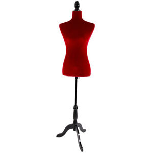 Red Female Mannequin Torso Dress Form Tripod Stand Display Jewelry Velour