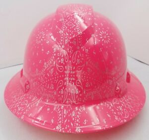 Hard Hat Custom Hydro Dipped Osha Approved Full Brim Hot Pink Bandana New