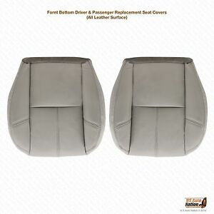 2012 Chevy Silverado Driver Passenger Side Bottom Leather Seat Cover Gray 833