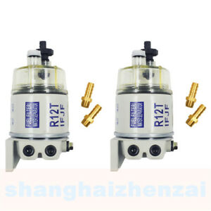 2pack Diesel Fuel Filter Water Separator For R12t Marine Spin On Housing 120at
