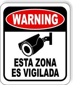 Spanish Warning Video Surveillance Security Camera Metal Outdoor Sign Long last