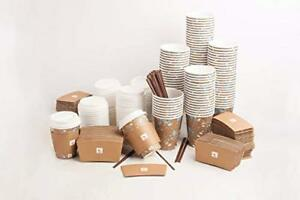 Jays 120 Set Paper Coffee Hot Cups With Lids Sleeves And Straws Espresso Hot