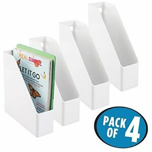 Mdesign Office Supplies Desk Shelf Vertical Plastic white Pack Of 4