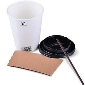 To Go Paper Coffee Cups With Travel Lids Sleeves And Straws 100 white 00