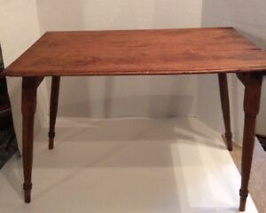 Vintage Primitive Portable Wood Sewing Table Side Table Folding Legs