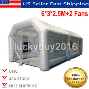 Inflatable Giant Car Workstation Spray Paint Booth Tent 6 3 2 5m Grey 2 Blowers