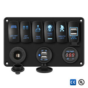 Excelvan Waterproof 3pin 6 Gang Led Rocker Switch Control Panel Circuit Charger