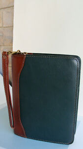 Compact 1 25 Rings Green brown Leather Franklin Covey quest Planner Binder usa