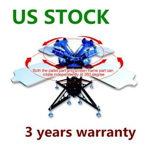 Us Stock 4 Color 4 Station Silk Screen Printing Machine Press T shirt Printer