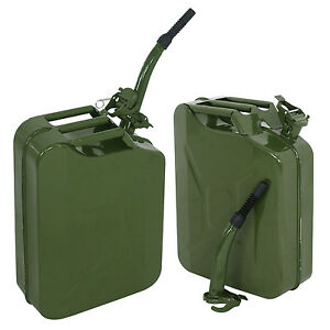2x Jerry Can Fuel Tank Steel 5gallon 20l Nato Style Military Green