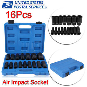 New 1 2 Drive Deep Air Impact Sockets Socket Metric Set Dr 16 Piece W case