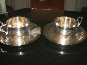 Pair 2 Vintage Ornate Silver Plated Cups And Saucers With Unknown Makers Mars