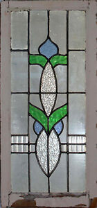 Original English Art Deco Stained Glass Window In Original Frame