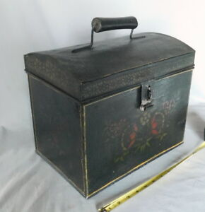 Large Antique Tole Painted Tin Document Deed Box Stenciled Polychrome 19th C