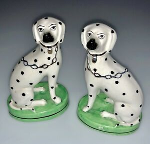 Antique Staffordshire Spotted Dogs Porcelain Figurines Marked W Staffordshire