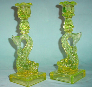 Mma Dragon Koi Fish Vaseline Depression Imperial Glass Candle Holder Candlestick