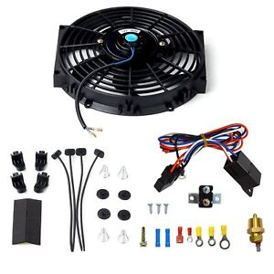 New 10 Electric Radiator Cooling Fan W Thermostat Relay Mounting Kit Black