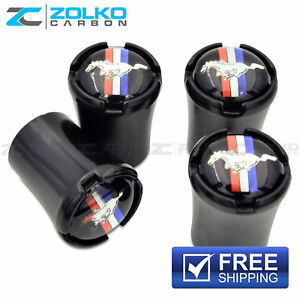Mustang Valve Stem Caps Wheel Tire Black Us Seller