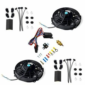2x 7 Black Electric Radiator Cooling Fan thermostat Relay Install Kits