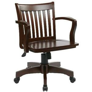 Desk Chairs Office Star Deluxe Wood Bankers Seat Espresso