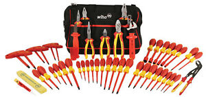 Wiha 50pc Insulated Electricians Lineman Tool Set 32874 W carry Bag Made Germany
