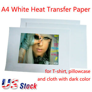 White A4 Iron On Heat Transfer Paper For Dark Color T shirt Cloth Us Stock