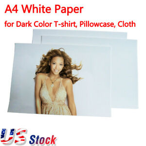 Us Stock White A4 Laser Print Transfer Paper For Dark Color T shirt Pillowcase